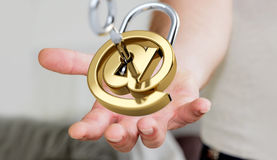 Businessman using 3D rendered digital padlock to secure his inte Stock Photos