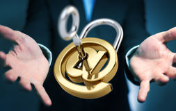 Businessman using 3D rendered digital padlock to secure his inte Stock Images