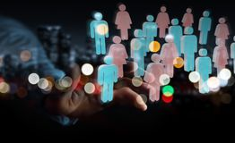 Businessman using 3D rendering group of people. Businessman on blurred background using 3D rendering group of people Stock Photography