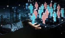 Businessman using 3D rendering group of people. Businessman on blurred background using 3D rendering group of people Royalty Free Stock Photos