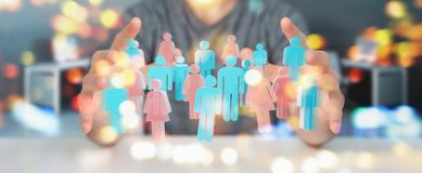 Businessman using 3D rendering group of people. Businessman on blurred background using 3D rendering group of people Stock Images