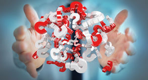 Businessman using 3D rendering question marks. Businessman on blurred background using 3D rendering question marks Stock Images