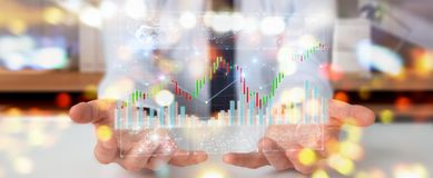 Businessman using 3D rendering stock exchange datas and charts. Businessman on blurred background using 3D rendering stock exchange datas and charts Royalty Free Stock Photos