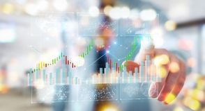 Businessman using 3D rendering stock exchange datas and charts. Businessman on blurred background using 3D rendering stock exchange datas and charts Royalty Free Stock Image