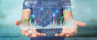 Businessman using 3D rendering stock exchange datas and charts. Businessman on blurred background using 3D rendering stock exchange datas and charts Stock Images