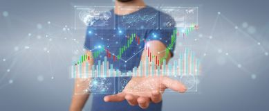 Businessman using 3D rendering stock exchange datas and charts. Businessman on blurred background using 3D rendering stock exchange datas and charts Stock Photography