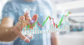 Businessman using 3D rendering stock exchange datas and charts. Businessman on blurred background using 3D rendering stock exchange datas and charts vector illustration