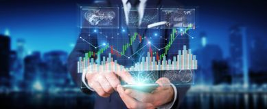 Businessman using 3D rendering stock exchange datas and charts. Businessman on blurred background using 3D rendering stock exchange datas and charts royalty free illustration
