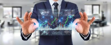 Businessman using 3D rendering stock exchange datas and charts. Businessman on blurred background using 3D rendering stock exchange datas and charts stock illustration