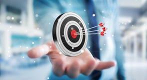 Businessman using 3D rendering target Royalty Free Stock Images