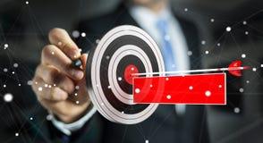 Businessman using 3D rendering target Stock Photo