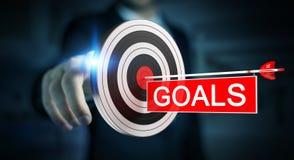 Businessman using 3D rendering target. Businessman on blurred background using 3D rendering target Royalty Free Stock Image