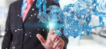 Businessman using digital arobase blue sphere to surf on interne Stock Photo