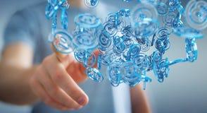 Businessman using digital arobase blue sphere to surf on interne. Businessman on blurred background using digital arobase blue sphere to surf on internet 3D Stock Photo