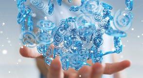 Businessman using digital arobase blue sphere to surf on interne. Businessman on blurred background using digital arobase blue sphere to surf on internet 3D Stock Photography
