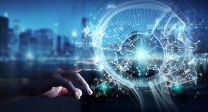 Businessman using digital artificial intelligence interface 3D r. Businessman on blurred background using digital artificial intelligence interface 3D rendering stock illustration