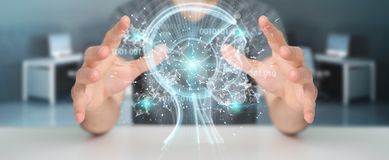 Businessman using digital artificial intelligence interface 3D r. Businessman on blurred background using digital artificial intelligence interface 3D rendering Stock Images