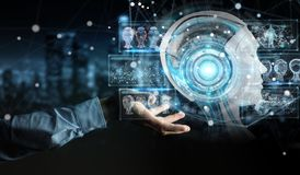 Businessman using digital artificial intelligence interface 3D r. Businessman on blurred background using digital artificial intelligence interface 3D rendering Royalty Free Stock Photos