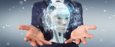 Businessman using digital artificial intelligence interface 3D r. Businessman on blurred background using digital artificial intelligence interface 3D rendering Royalty Free Stock Images