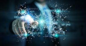 Businessman using digital binary code connection network 3D rend. Businessman on blurred background using digital binary code connection network 3D rendering Stock Images