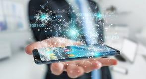Businessman using digital binary code on mobile phone 3D renderi. Businessman on blurred background using digital binary code on mobile phone 3D rendering Stock Images