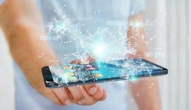 Businessman using digital binary code on mobile phone 3D renderi. Businessman on blurred background using digital binary code on mobile phone 3D rendering Stock Photos