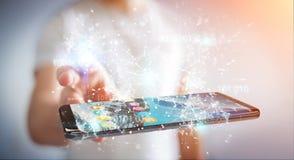Businessman using digital binary code on mobile phone 3D renderi. Businessman on blurred background using digital binary code on mobile phone 3D rendering Stock Photography