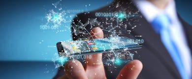 Businessman using digital binary code on mobile phone 3D renderi. Businessman on blurred background using digital binary code on mobile phone 3D rendering Royalty Free Stock Image