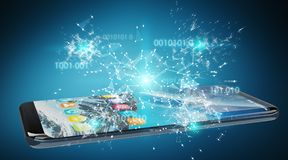 Businessman using digital binary code on mobile phone 3D renderi. Digital binary code on mobile phone isolated on blue background 3D rendering Stock Photos