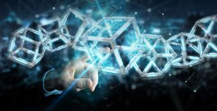 Businessman using digital blue Blockchain 3D rendering royalty free illustration