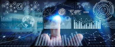 Businessman using digital charts for presentation. Businessman using futuristic screens with charts and graphics Stock Image