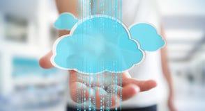 Businessman using digital cloud 3D rendering. Businessman on blurred background using digital cloud 3D rendering Royalty Free Stock Image