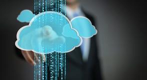 Businessman using digital cloud 3D rendering. Businessman on blurred background using digital cloud 3D rendering Royalty Free Stock Photo