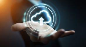 Businessman using digital cloud 3D rendering. Businessman on blurred background using digital cloud 3D rendering Royalty Free Stock Photography