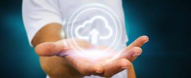 Businessman using digital cloud 3D rendering. Businessman on blurred background using digital cloud 3D rendering Stock Image
