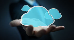 Businessman using digital cloud 3D rendering. Businessman on blurred background using digital cloud 3D rendering Stock Photo