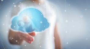 Businessman using digital cloud 3D rendering. Businessman on blurred background using digital cloud 3D rendering Stock Images
