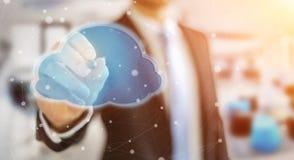 Businessman using digital cloud 3D rendering. Businessman on blurred background using digital cloud with a pen 3D rendering Stock Image