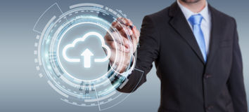 Businessman using digital cloud 3D rendering. Businessman on blurred background using digital cloud with a pen 3D rendering Stock Photography