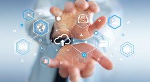 Businessman using digital cloud interface 3D rendering. Businessman on blurred background using digital cloud interface 3D rendering Royalty Free Stock Image