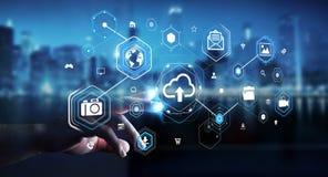 Businessman using digital cloud interface 3D rendering. Businessman on blurred background using digital cloud interface 3D rendering Royalty Free Stock Photo