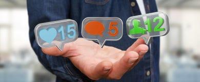 Businessman using digital colorful social media icons 3D renderi Stock Photo