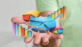Businessman using digital 3D charts and bars. Interface with his hand Stock Photos
