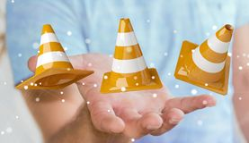 Businessman using digital 3D rendering under construction signs Royalty Free Stock Images