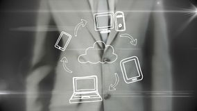 Businessman using digital futuristic interface
