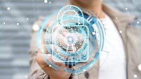 Businessman using digital padlock to secure his datas 3D renderi Stock Photography