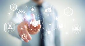 Businessman using digital presentation for partnership business. Businessman on blurred background using digital presentation for partnership business 3D Stock Photo