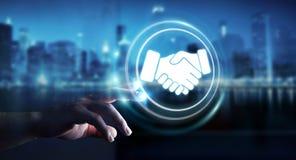 Businessman using digital presentation for partnership business. Businessman on blurred background using digital presentation for partnership business 3D Royalty Free Stock Image