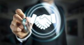 Businessman using digital presentation for partnership business. Businessman on blurred background using digital presentation for partnership business 3D Royalty Free Stock Photo