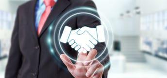 Businessman using digital presentation for partnership business. Businessman on blurred background using digital presentation for partnership business 3D Stock Image